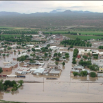 flooded buildings in New Mexico courtesy of the National Weather Service