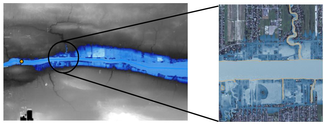 Floodplain boundary delineated using ArcHydro