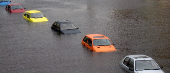 several cars that are flooded.