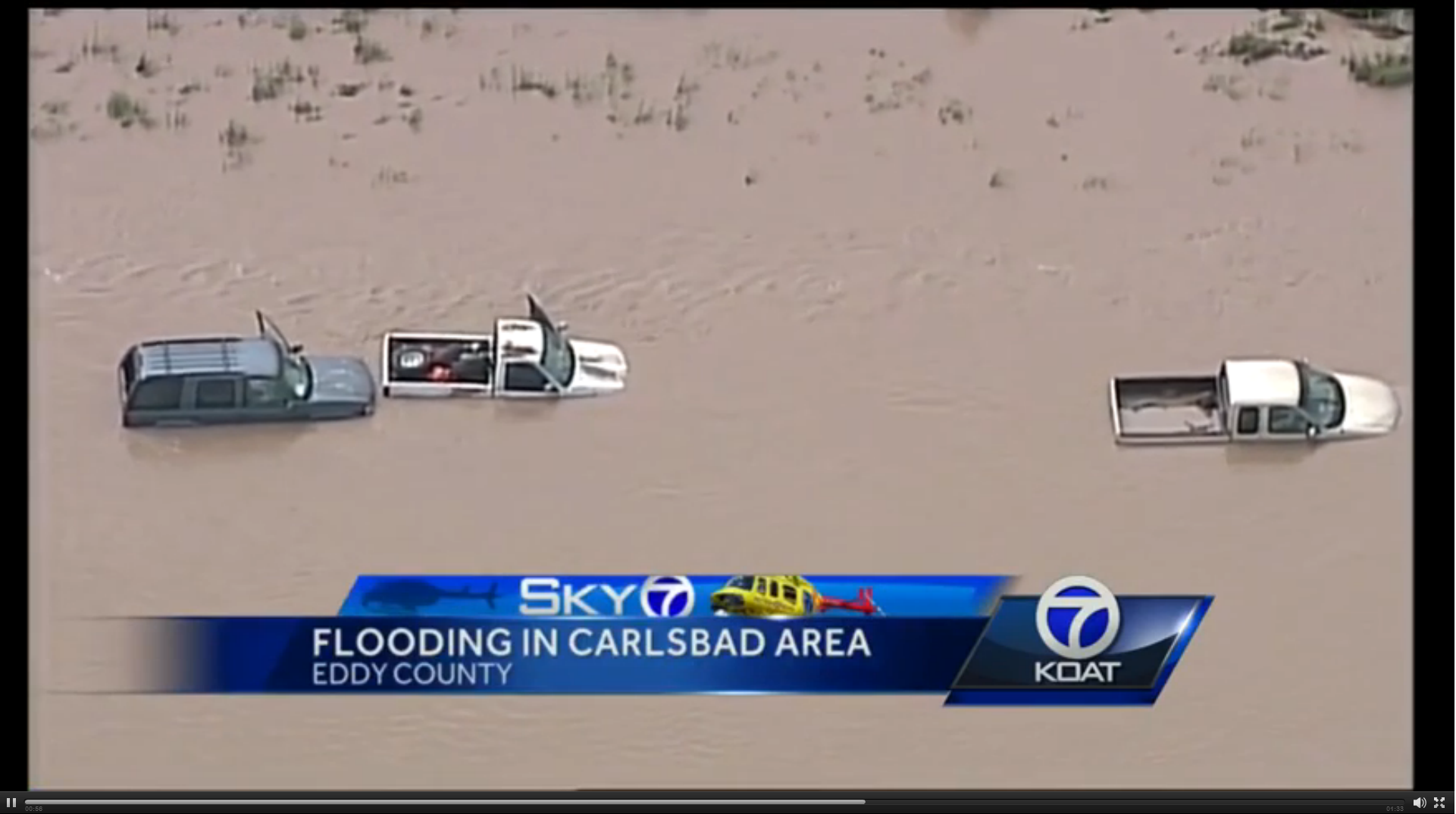 A picture of vehicles flooded in Eddy County New Mexico.