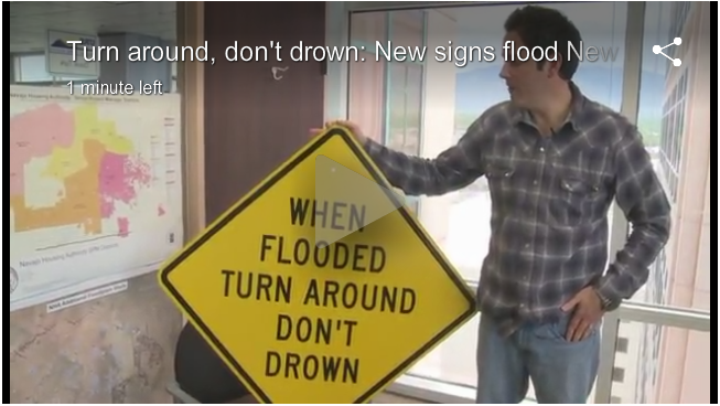 Dave Turk with NMFMA giving an interview with KRQE about the Turn Around Don't Drown signs in New Mexico.