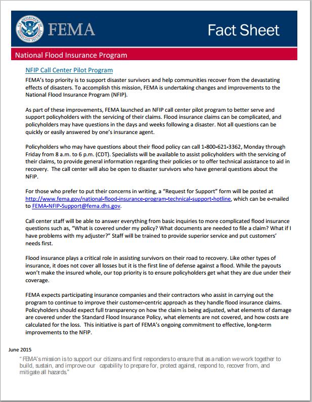 A screen capture of a press announcement about the new FEMA NFIP call center.