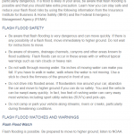A screen capture of flood safety tips.