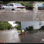 Pictures of urban flooding showing streets underwater and cars at various levels of flooding.
