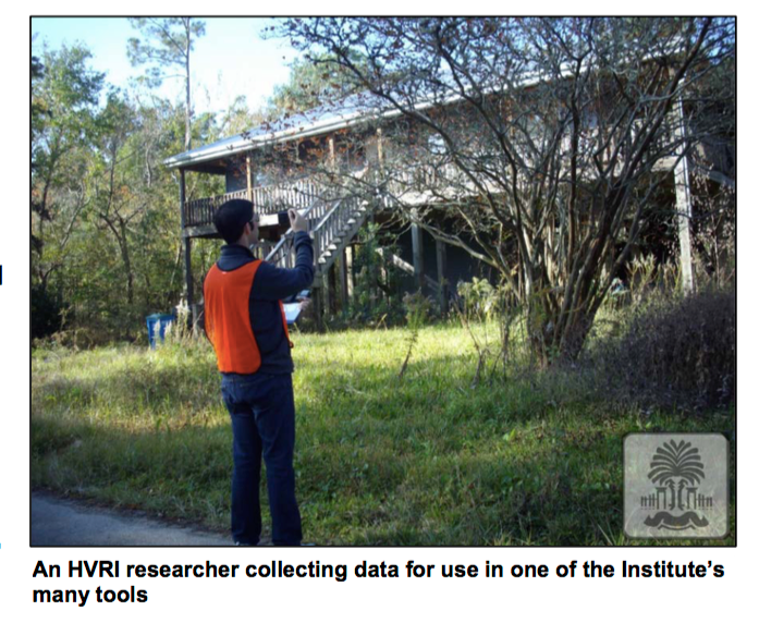 An HVRI researcher collects data in the field to use in modeling applications.