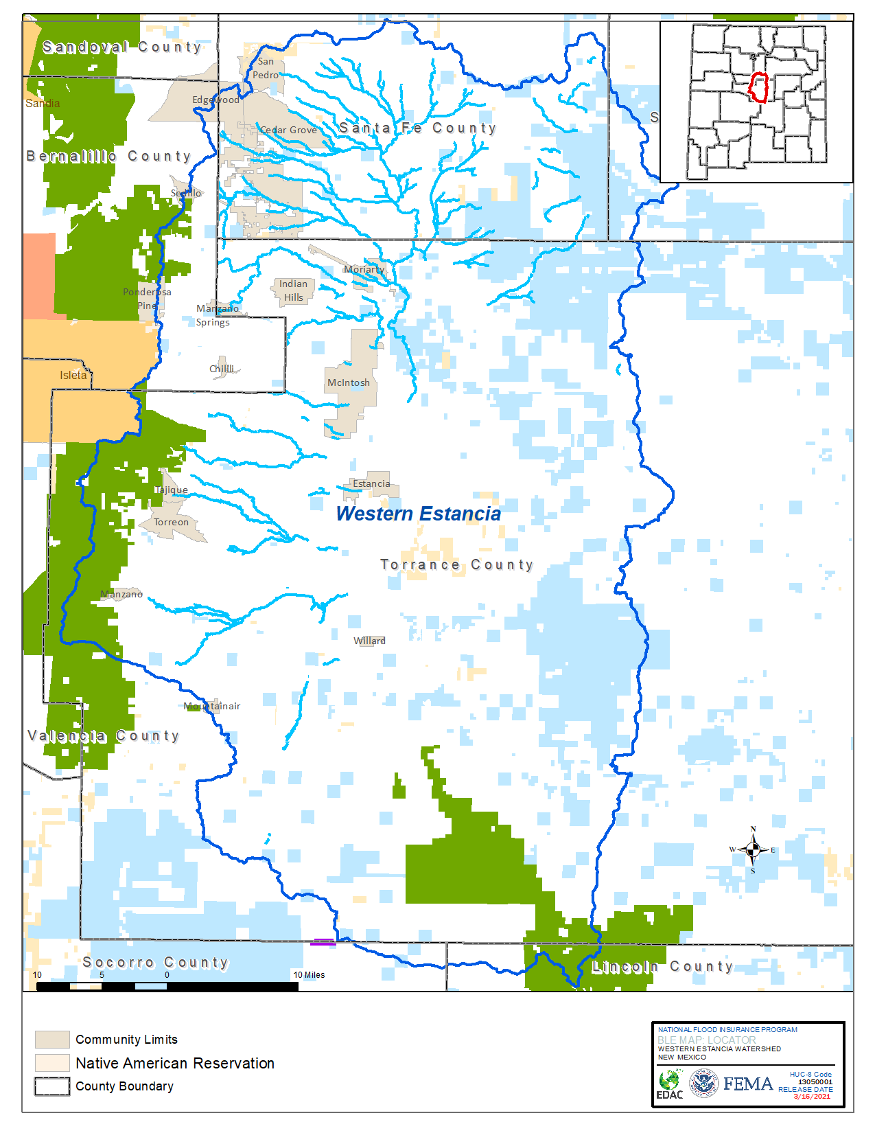 Western Estancia Watershed Locator Map